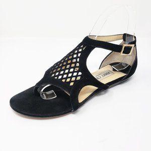 Jimmy Choo Authentic Black Suede Sandals 36.5